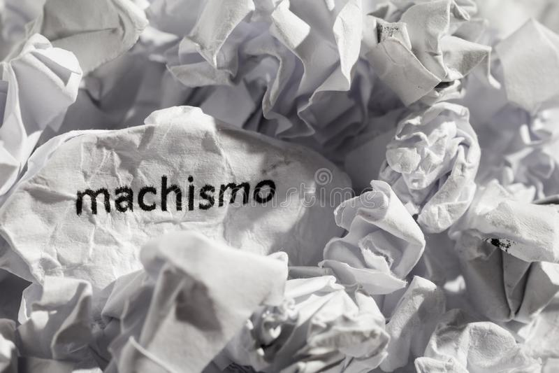 Forre a palavra escrita do machismo, a portuguesa e a espanhola para o chauvism imagem de stock