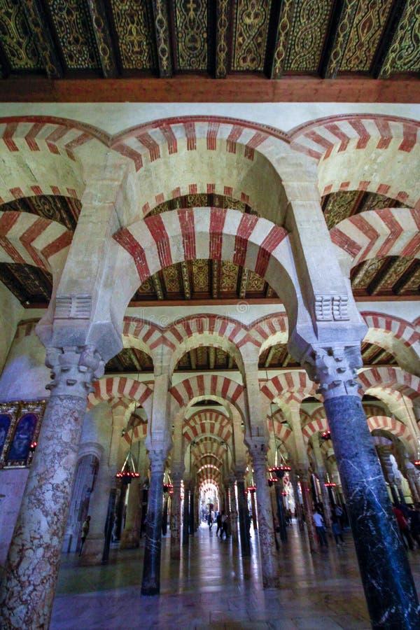 forrest柱子在伟大的清真寺在科多巴,西班牙 图库摄影