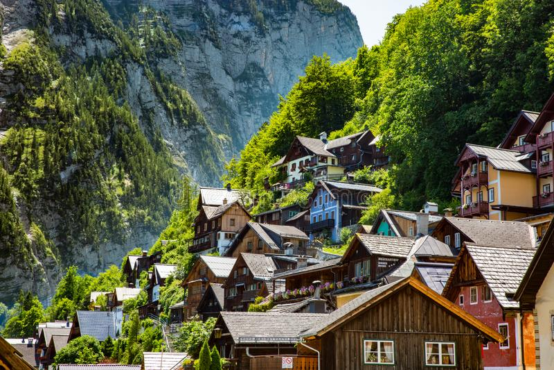 Forrest Landscape Hallstadt Austria Village stuga arkivbild