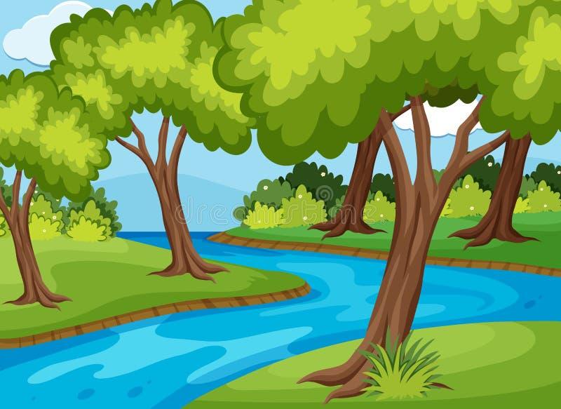 Forrestscène met door in werking gestelde rivier royalty-vrije illustratie