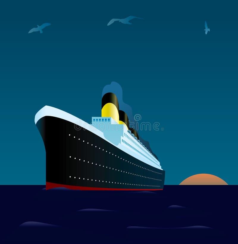Forro do cruzeiro no por do sol ilustração royalty free