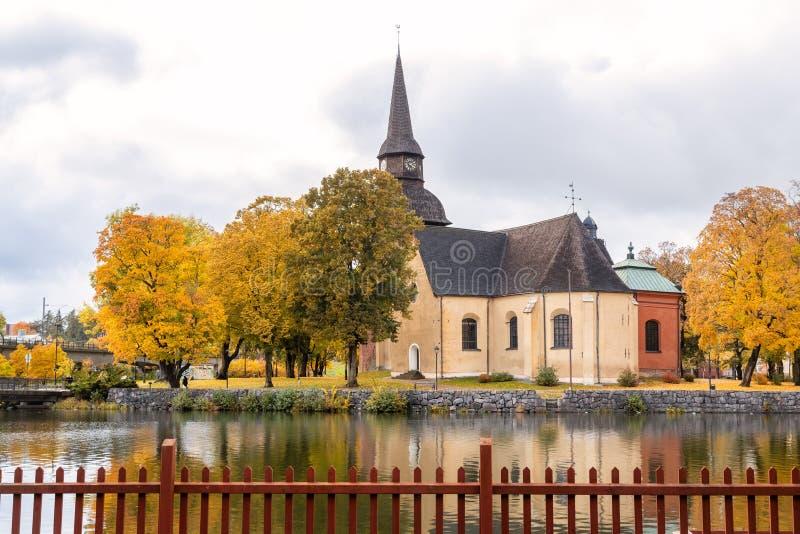 Fors church in Eskilstuna, Sweden. Fors church in the Swedish city Eskilstuna with autumn colors, Sweden stock image