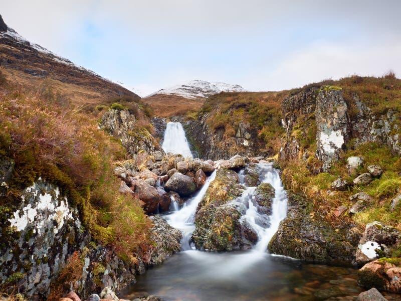 Forsar i liten vattenfall på strömmen, Higland i Skottland om den tidiga vårdagen Snöig bergmaxima royaltyfri bild