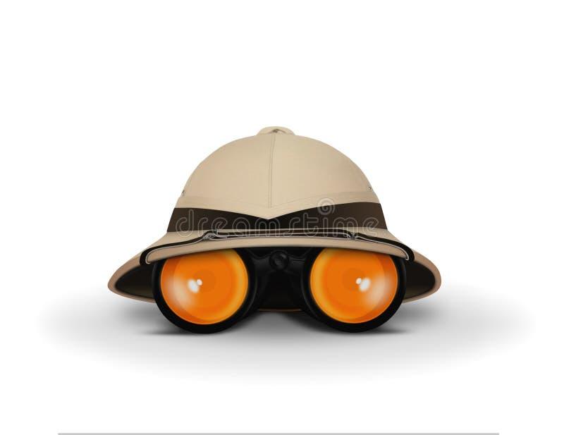 Forscher Hat und binokulares stock abbildung