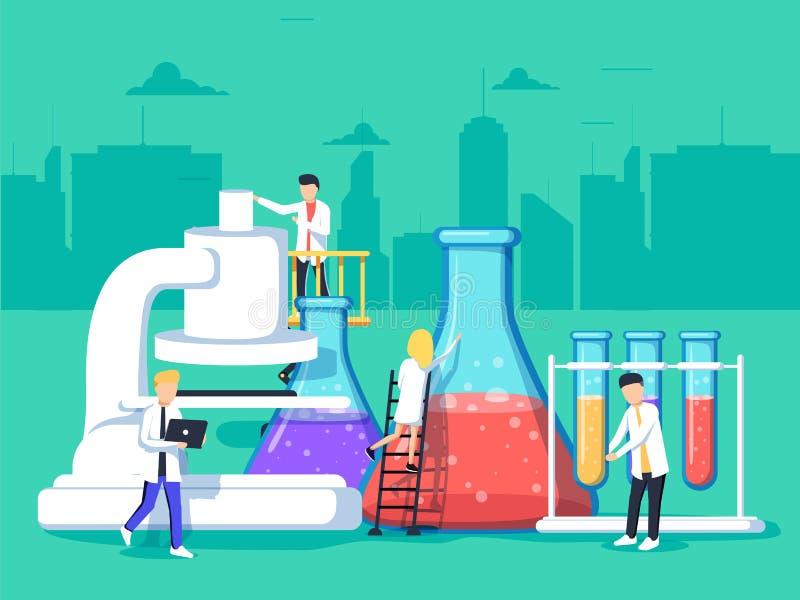 Forscher im Labor, analysieren sie eine Probe unter Verwendung eines Mikroskops und überprüfen Reagenzgläser stock abbildung