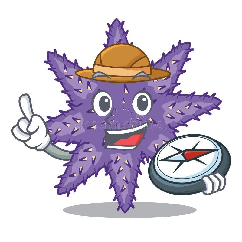 Forscher purpurrote Starfish in der Zeichenform lizenzfreie abbildung