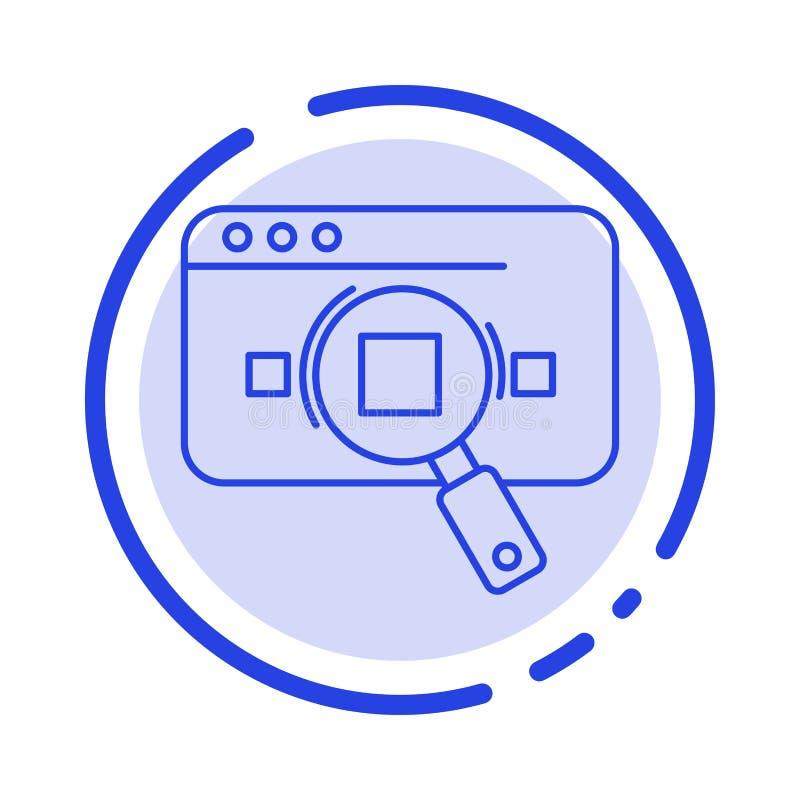 Forschung, analytisch, Analytics, Daten, Informationen, Suche, Linie Ikone der Netz-blauen punktierten Linie vektor abbildung