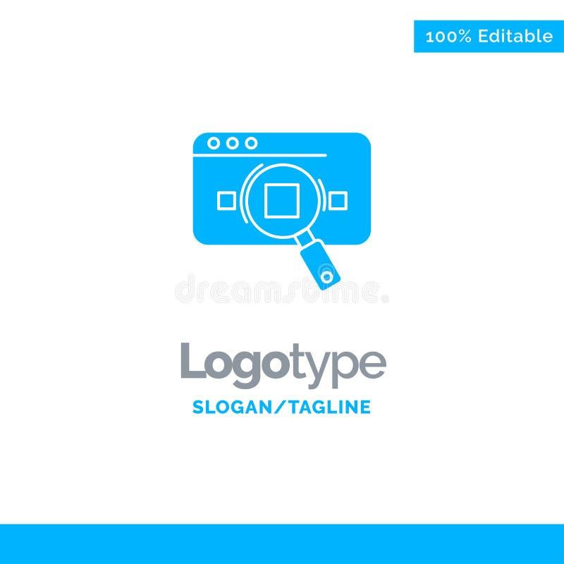 Forschung, analytisch, Analytics, Daten, Informationen, Suche, Netz blauer fester Logo Template Platz f?r Tagline stock abbildung