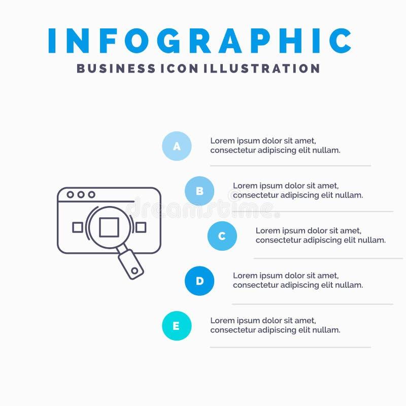 Forschung, analytisch, Analytics, Daten, Informationen, Suche, Netz-Linie Ikone mit Hintergrund infographics Darstellung mit 5 Sc lizenzfreie abbildung