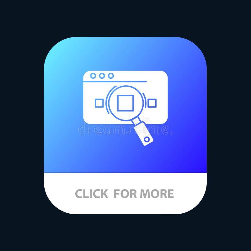 Forschung, analytisch, Analytics, Daten, Informationen, Suche, Netz mobiler App-Knopf Android und IOS-Glyph-Version lizenzfreie abbildung