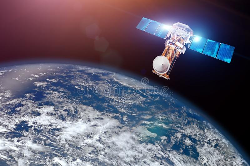 Forschung, prüfend, Überwachung in der Atmosphäre Satelitte über der Erde macht Maße von den Wetterparametern Elemente O stockfotografie