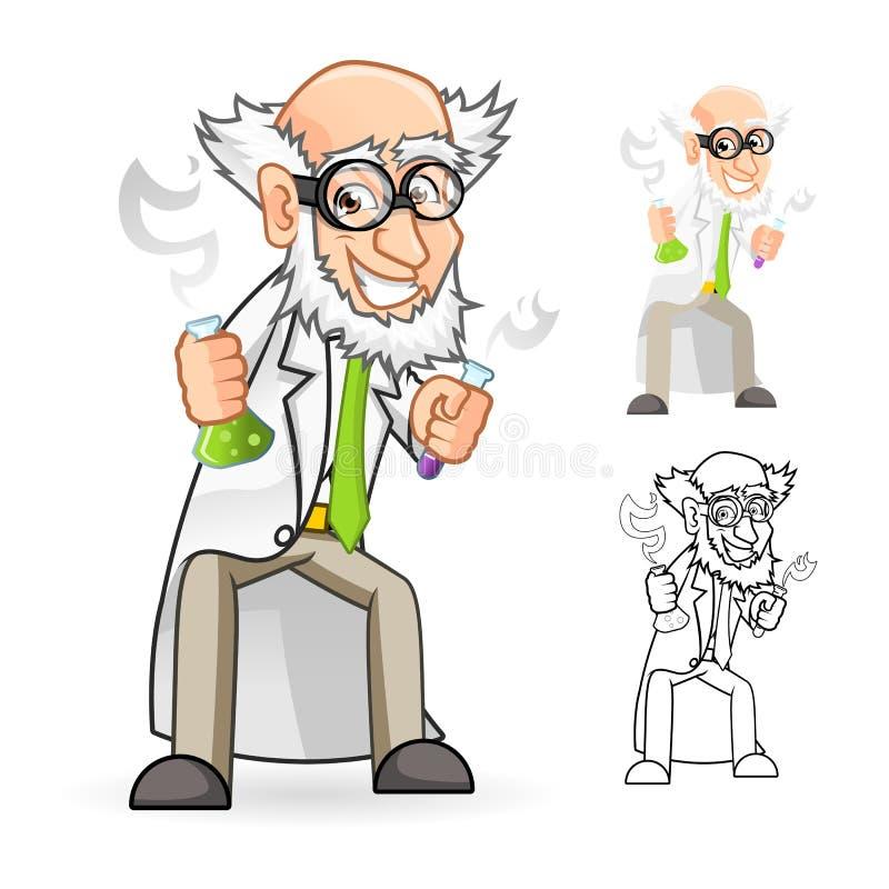 Forskare Cartoon Character Holding en dryckeskärl och en provrör med mening utmärkt stock illustrationer