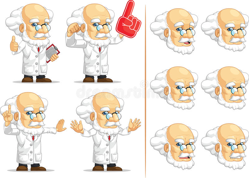 Forskare eller professor Customizable Mascot 4 vektor illustrationer
