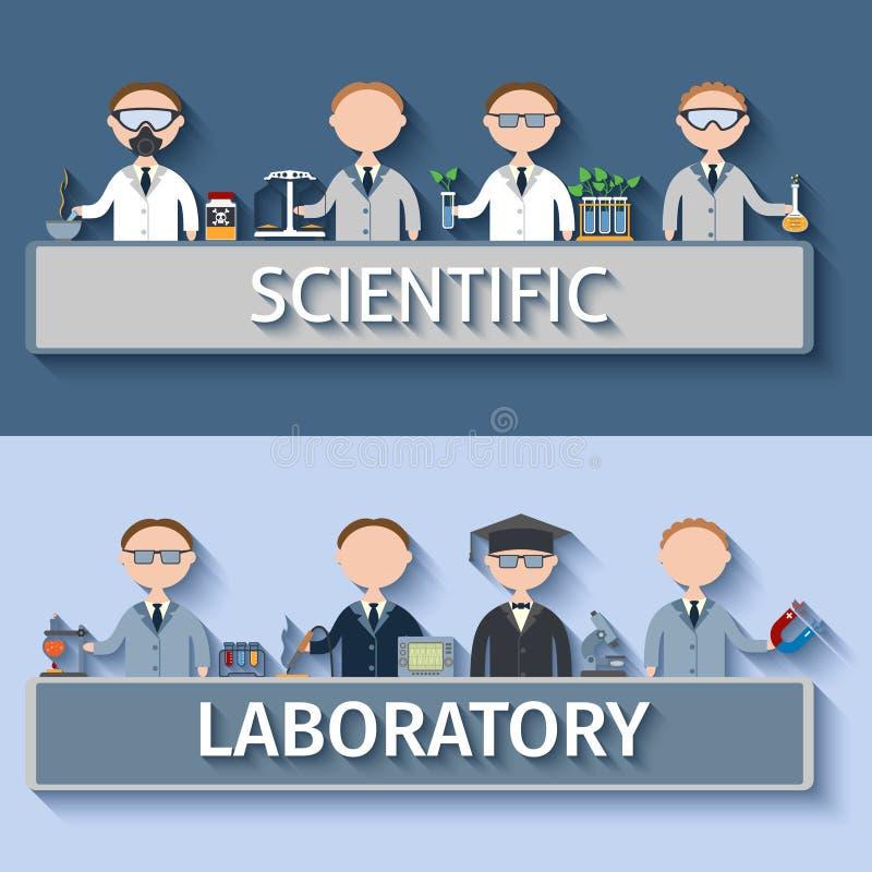 Forskare i labb stock illustrationer