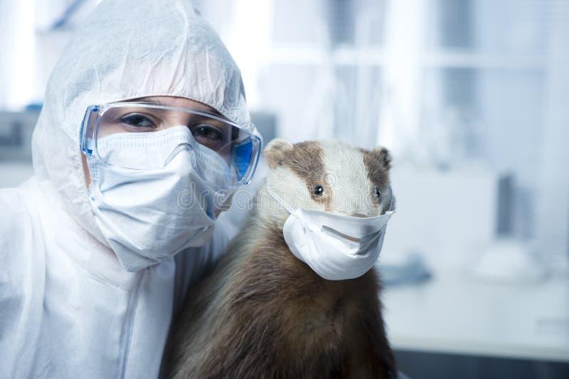 Forskare i skyddande dräkt och bäverskinn royaltyfri bild