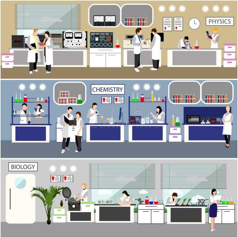 Forskare som arbetar i laboratoriumvektorillustration Inre för vetenskapslabb Biologi-, fysik- och kemiutbildning stock illustrationer