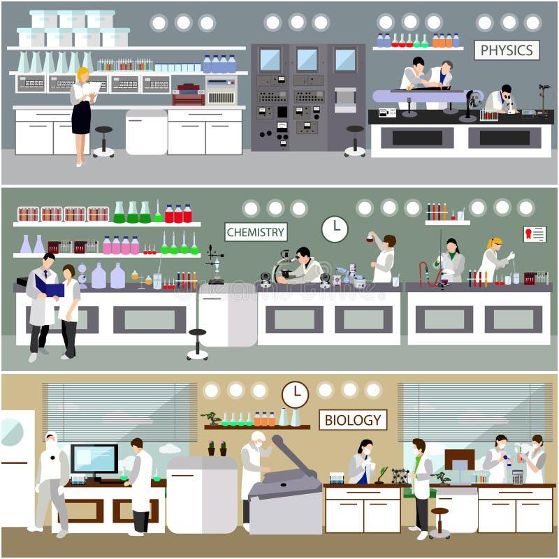 Forskare som arbetar i laboratoriumvektorillustration Inre för vetenskapslabb Biologi-, fysik- och kemiutbildning royaltyfri illustrationer