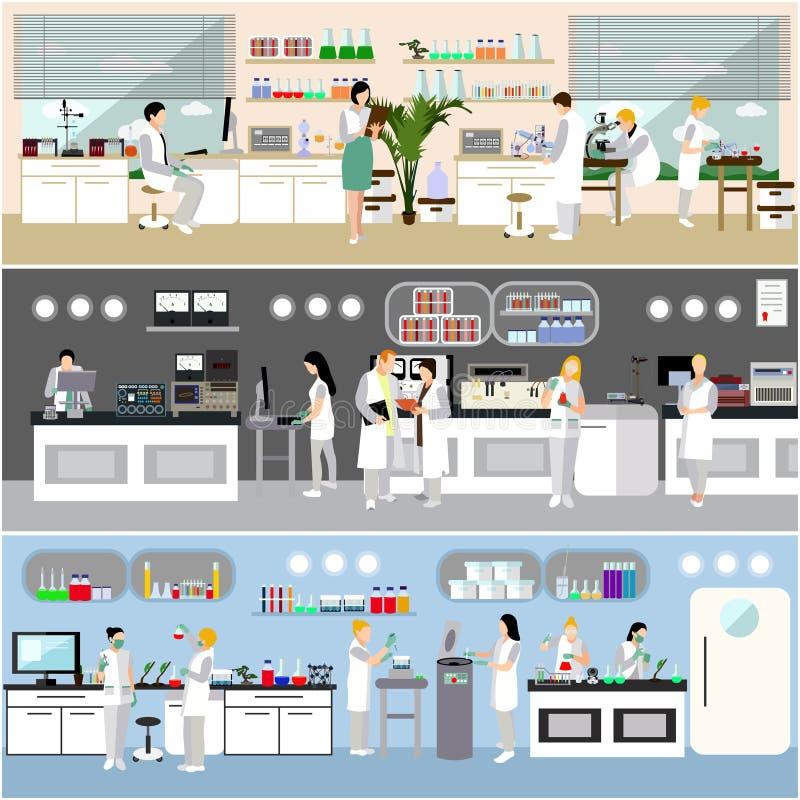 Forskare som arbetar i laboratoriumvektorillustration Inre för vetenskapslabb Biologi-, fysik- och kemiutbildning vektor illustrationer