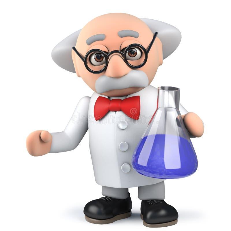 forskare som 3d utför kemiexperiment i labbflaska royaltyfri illustrationer