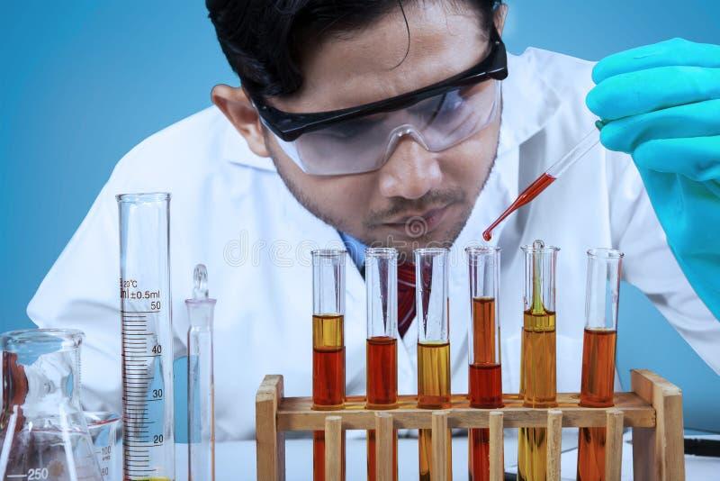 Forskare som kombinerar kemikalievätskan arkivfoton