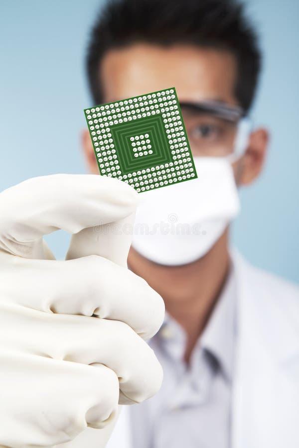 Forskare som visar en microchipdator royaltyfri fotografi