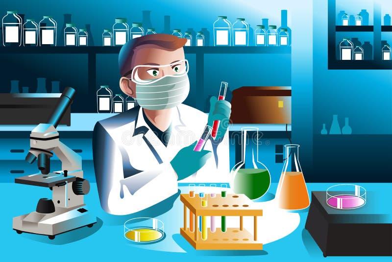 Forskare Working In Laboratory royaltyfri illustrationer