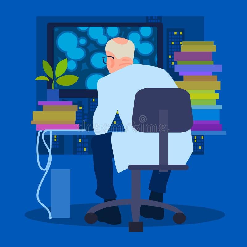Forskarebiolog som arbetar på datoren, baksidasikt vektor stock illustrationer
