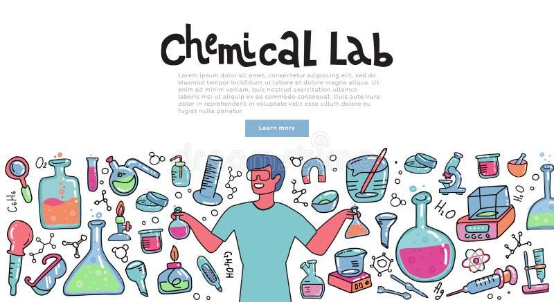 Forskareman med ett kemiexponeringsglas som förklarar kemisk reaktion Utbildningsbegrepp av kemivetenskap för baner klotter royaltyfri illustrationer