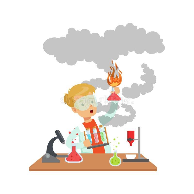 Forskarepojke som ser det smutsiga innehavet en exploderande provrör, skolpojke som gör illustrationen för vetenskapsexperimentve royaltyfri illustrationer