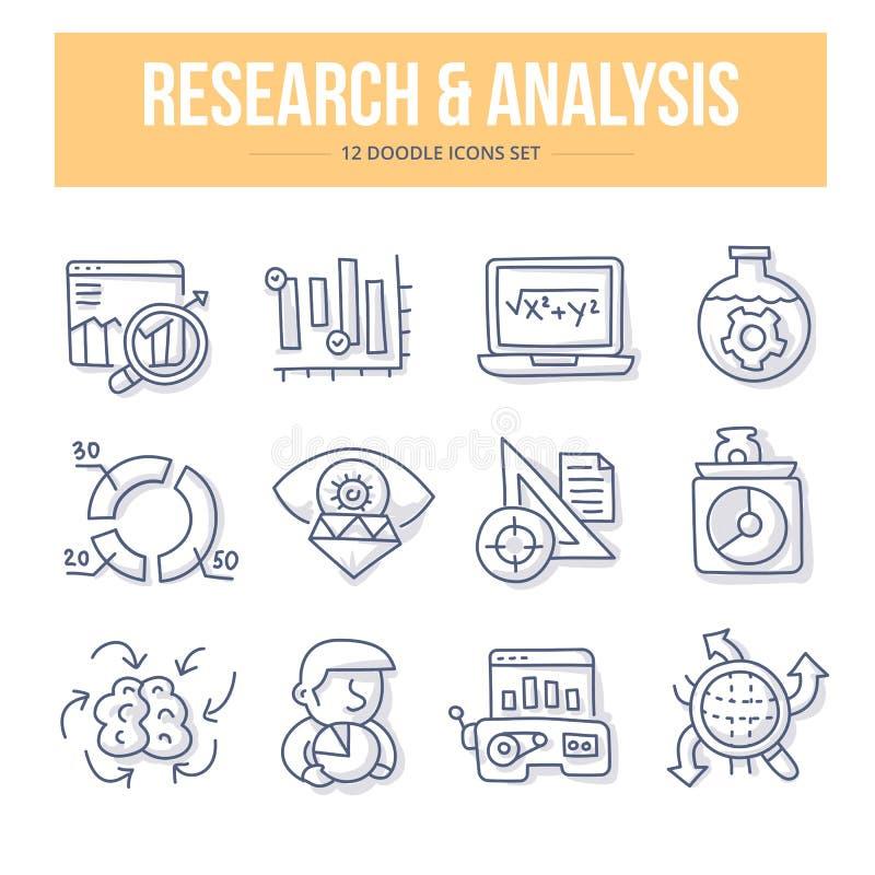 Forskning- & analysklottersymboler royaltyfri illustrationer