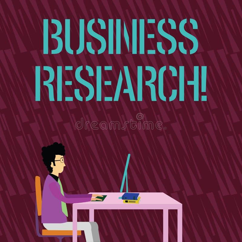 Forskning för affär för textteckenvisning Begreppsmässig fotoprocess av att få detaljerad information av affären stock illustrationer