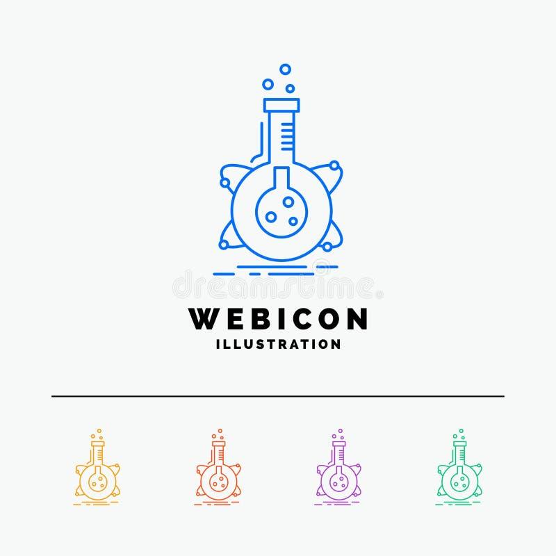 forskning laboratorium, flaska, rör, färglinje rengöringsduksymbolsmall som för utveckling 5 isoleras på vit ocks? vektor f?r cor royaltyfri illustrationer