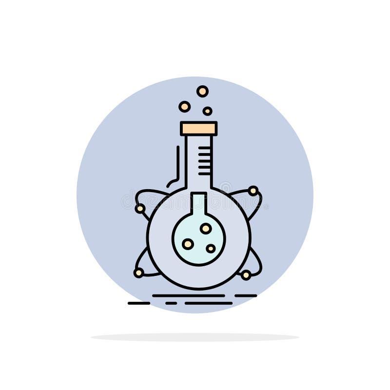 forskning laboratorium, flaska, rör, för färgsymbol för utveckling plan vektor royaltyfri illustrationer