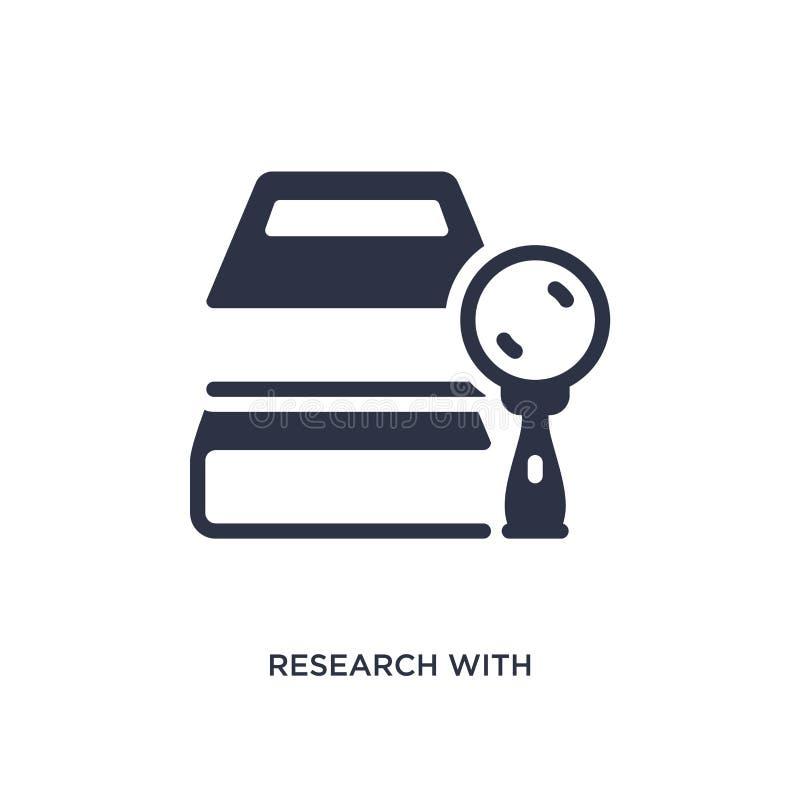 forskning med boksymbolen på vit bakgrund Enkel beståndsdelillustration från utbildningsbegrepp stock illustrationer