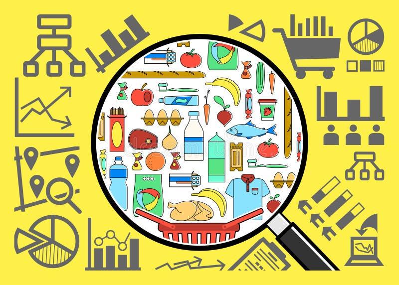 Forskning och analys av förbrukningsartikelkorgen stock illustrationer