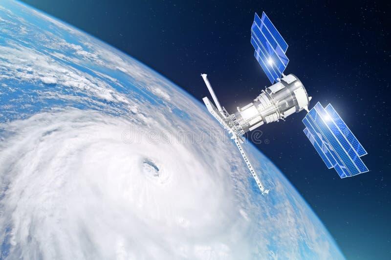 Forskning och att sondera, övervaka av spårning i en tropisk stormzon, orkan Satelliten ovanför jorden gör mätningar av royaltyfri foto