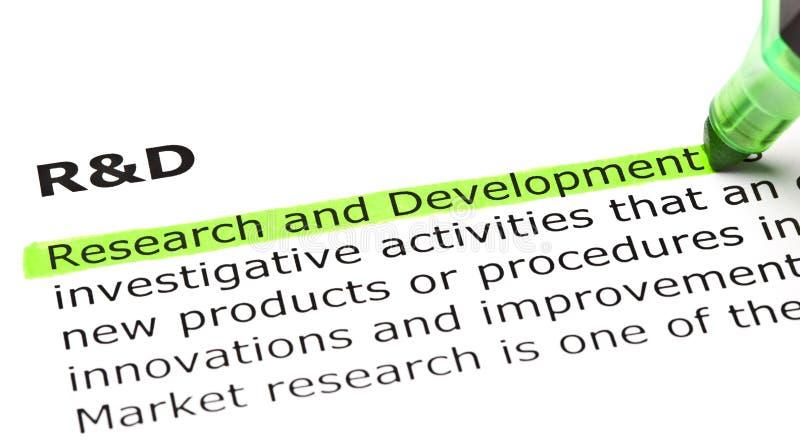 Forskning- och utvecklingsdefinition arkivbild