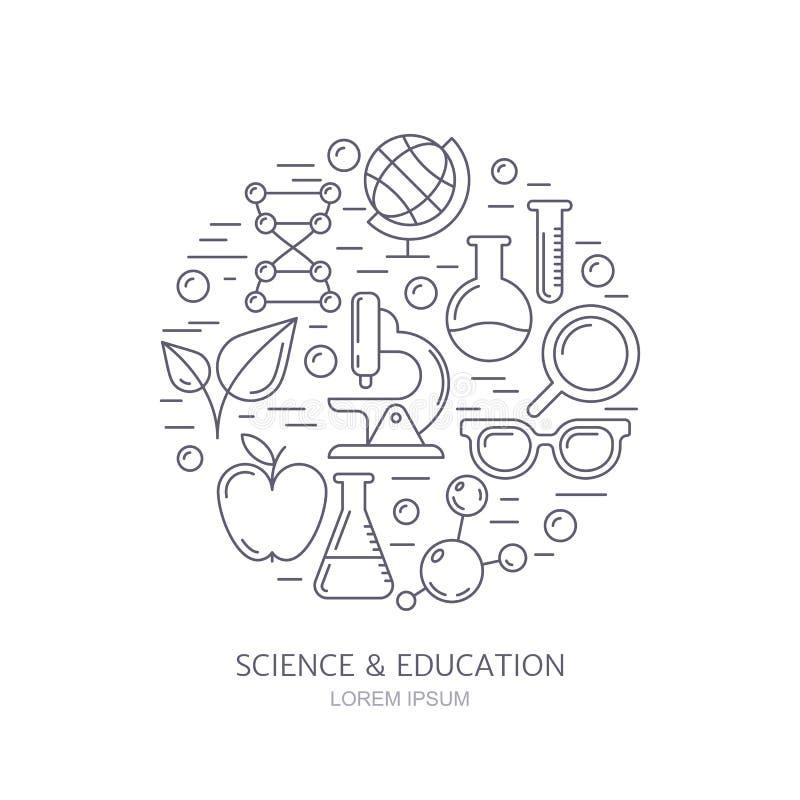 Forskning, teknologier och innovationsymboler Vetenskapsbackgroun royaltyfri illustrationer