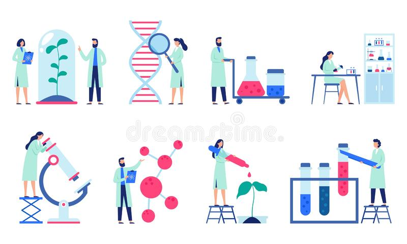 ForskningforskareScience laboratorium, kemiforskare och klinisk labb isolerad plan vektorillustrationuppsättning royaltyfri illustrationer