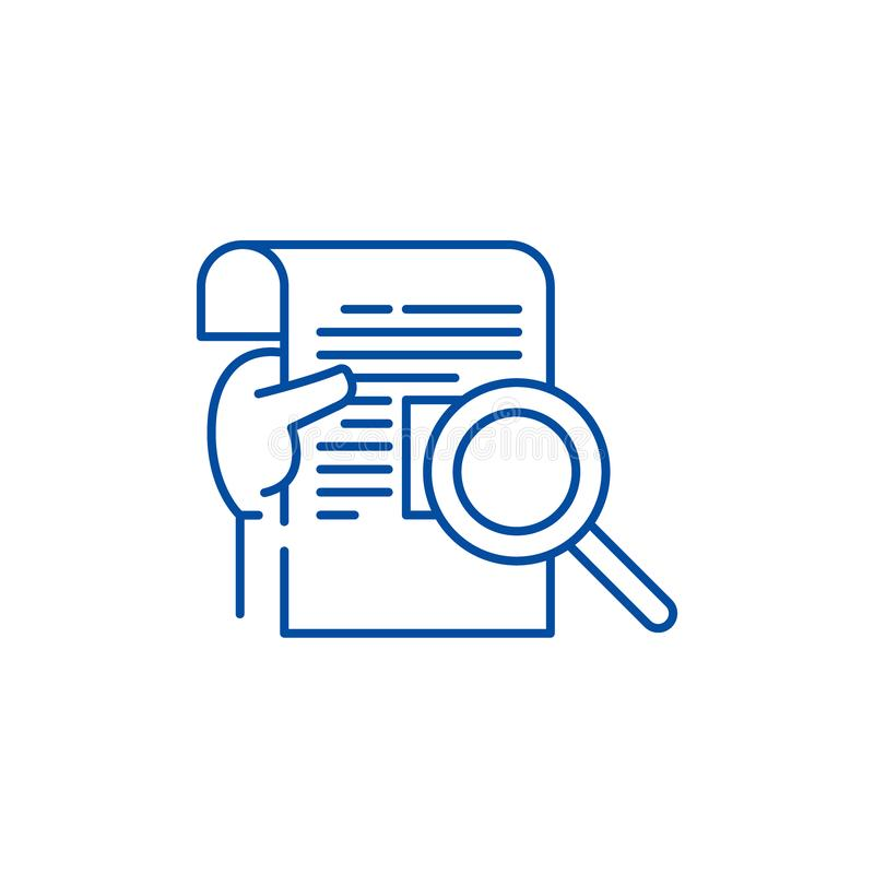 Forskningrapportlinje symbolsbegrepp Symbol för vektor för forskningrapport plant, tecken, översiktsillustration stock illustrationer