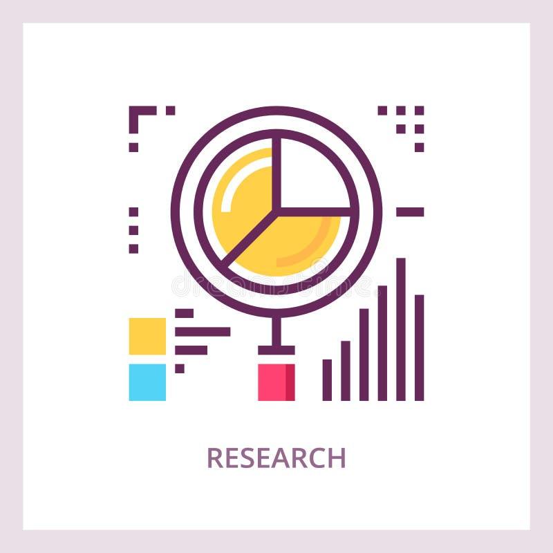 Forskningsymbol Begrepp för analys för finansiella data Linjär pictogram för vektor vektor illustrationer