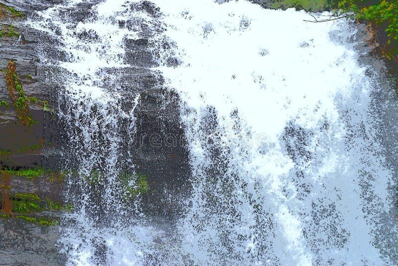 Forsowny przepływ woda z kropieniem biel krople - siklawy ilustracja royalty ilustracja
