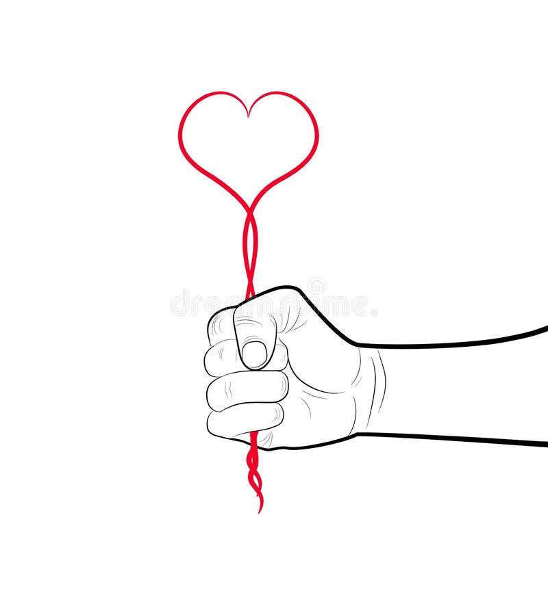 Forst карандаша drowing держа красное сердце от линии, концепции эгоизма, держит любовь крепко, иллюстрация вектора