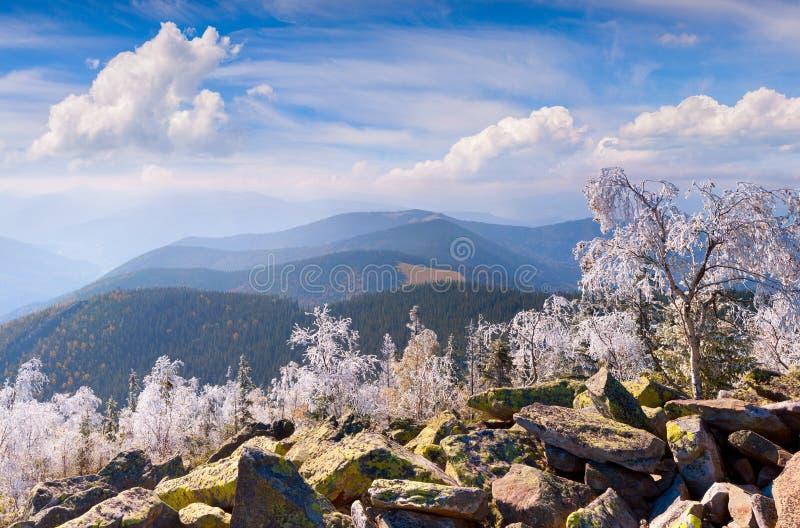 Forst-Frost in den Karpatenbergen lizenzfreies stockfoto