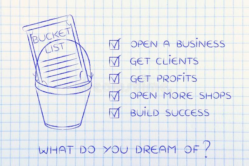 Forsuje listę z przedsiębiorcy biznesowego sukcesu celami, cykający o zdjęcia stock