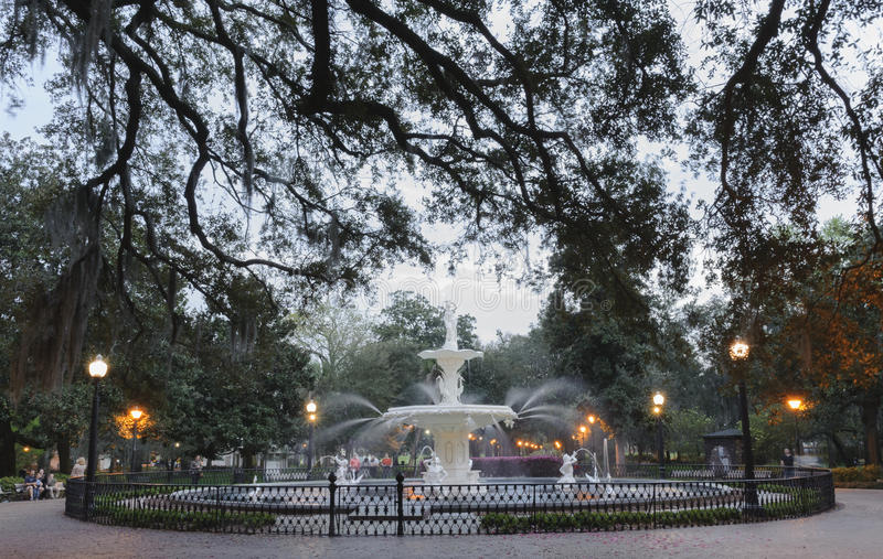 Forsyth Park Fountain of Savannah, GA in the evening. stock images