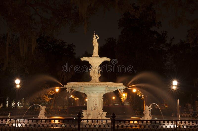 Forsyth Park Fountain of Savannah, GA at night royalty free stock photos
