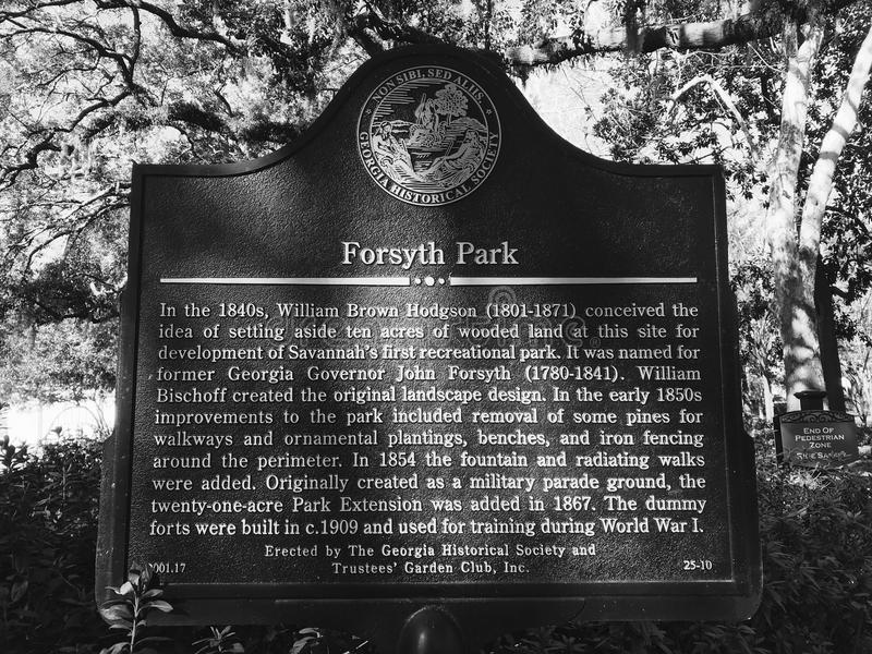 A Sign Giving the Details of Forsyth Park in Savannah, Georgia royalty free stock photo