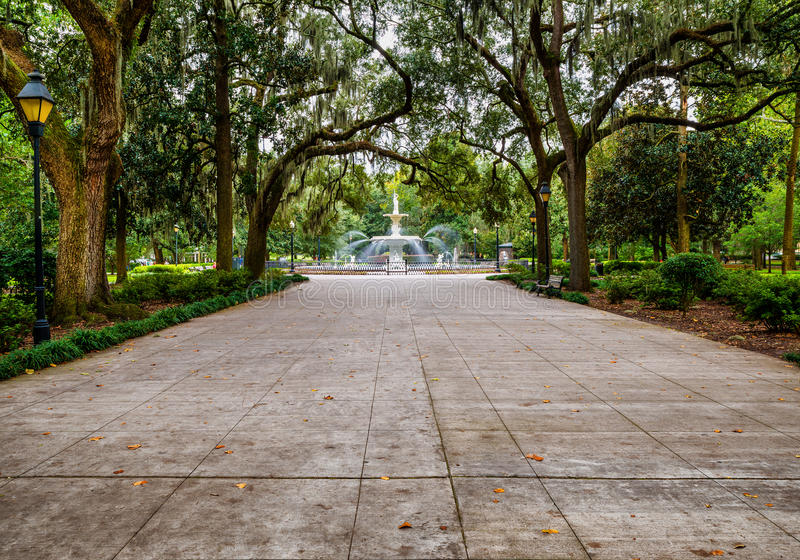 Forsyth Park in Savannah, GA stock images
