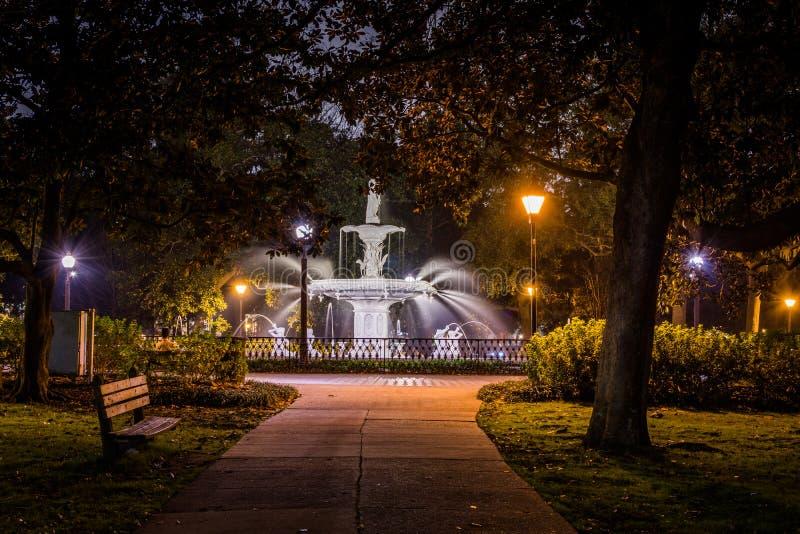 Forsyth Park in Savannah, Georgia at Night royalty free stock images